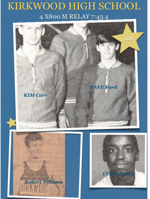 Boy's 4x800 Relay 7:43.4Kim Carr, Dave Ford, Robert Nellums, Cecil Jones 1968