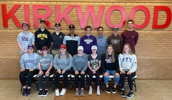 During a ceremony on Friday, February 7, Kirkwood High School recognized 15 student athletes.
