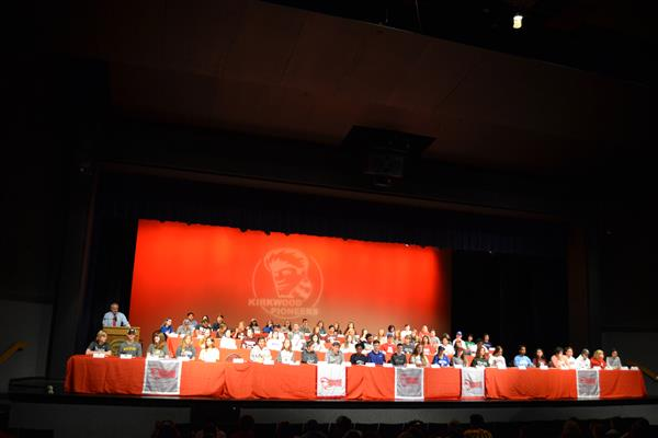 KHS recognized 76 senior students who will receive 50% or more of their collegiate tuition paid for