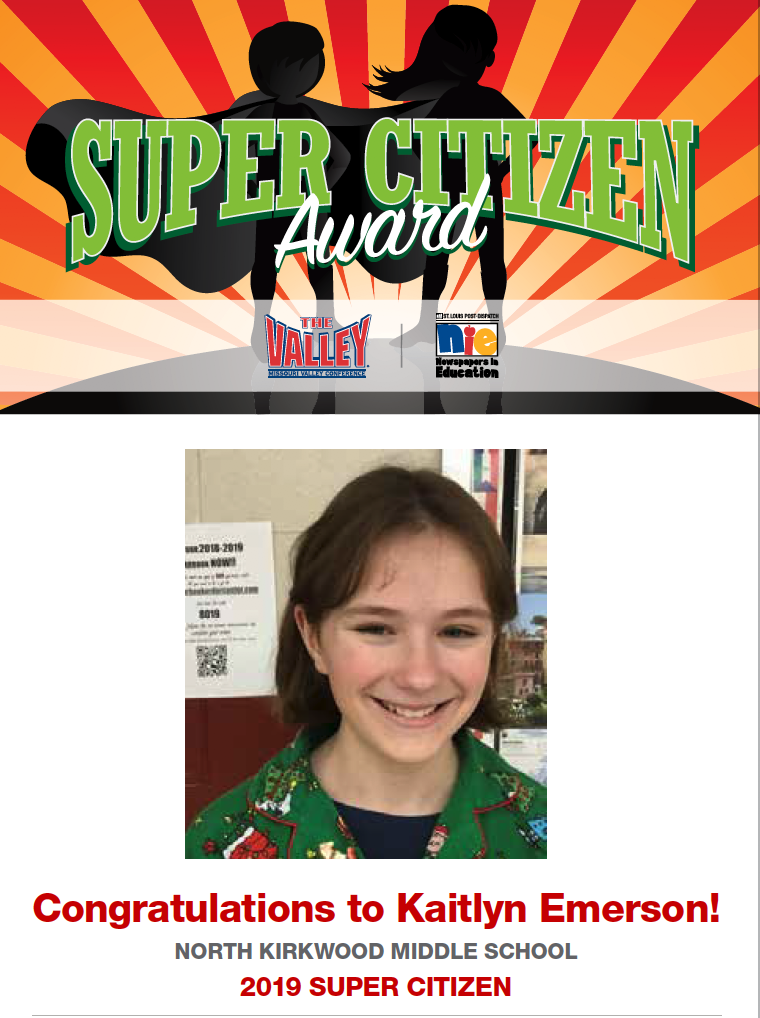 NKMS Student Earns Super Citizen Award