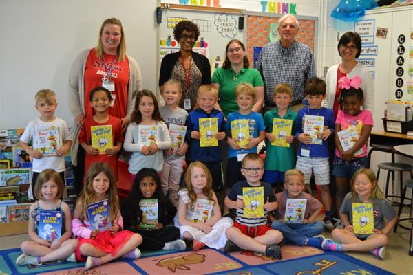 Kiwanis Club presented each of the kindergarten students with an early reader book.