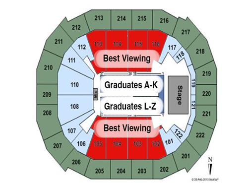 Diagram of Chaifetz Graduation Seating A-K on South L-Z on North
